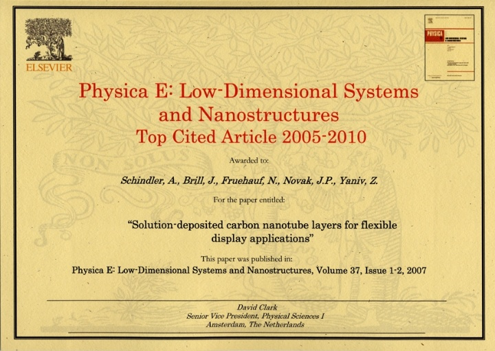 Top Cited Article 2005-2010, Physica E (c)