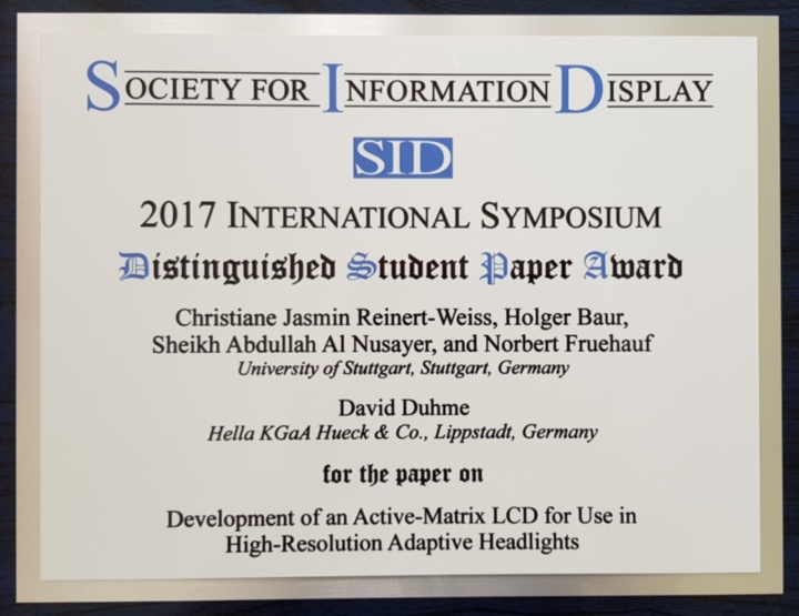Distinguished Student Paper Award, Displayweek 2017 (c)