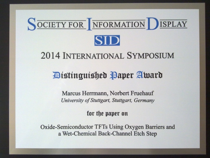 Distinguished Paper Award, Diplay Week 2014 (c)