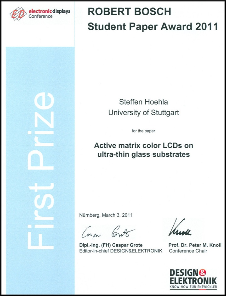 Robert Bosch Student Paper Award, Electronic Displays 2011 (c)